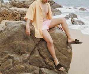 beach, menswear, and pink hair image