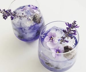 drink, flowers, and purple image