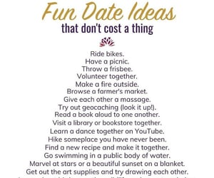 couples, lists, and cute date ideas image