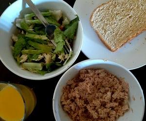 Salad: Black beans Chicken Avocado  Romaine lettuce  Tomato  Tuna Salad  Wheat bread  Orange Juice