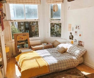 bedroom, room, and yellow image