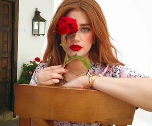 girl, girls, and red flower image