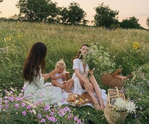 family, nature, and picnic image