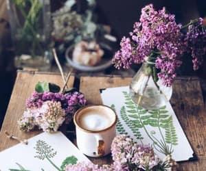 flowers, coffee, and purple image