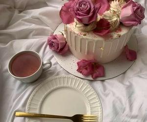 cake, rose, and tea image