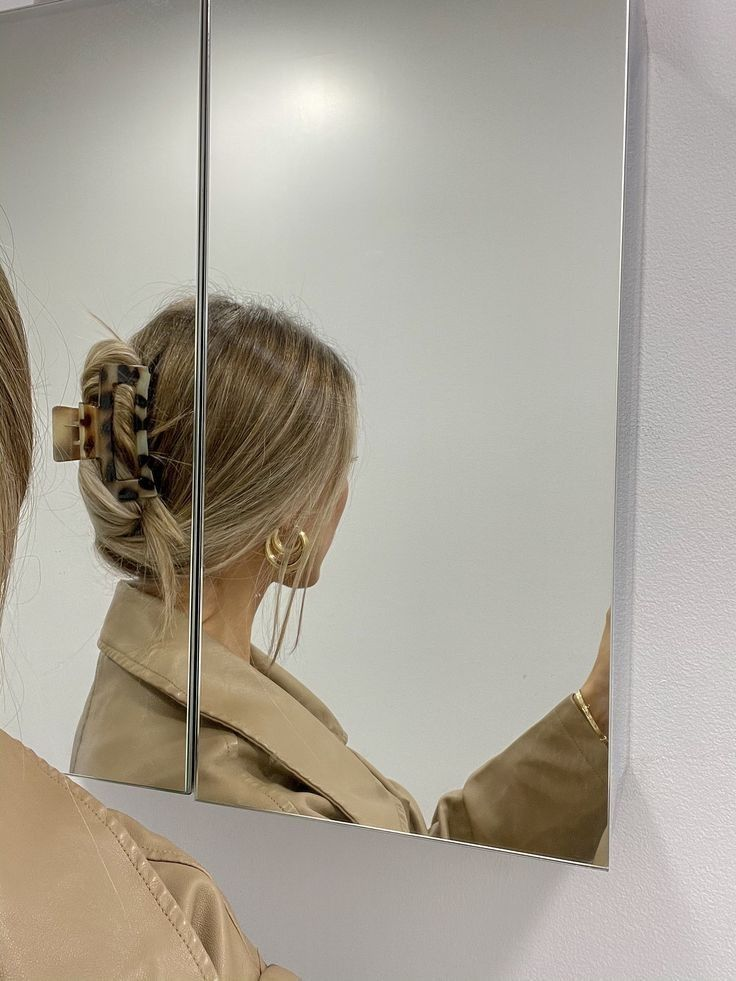 blonde, hair, and mirror image