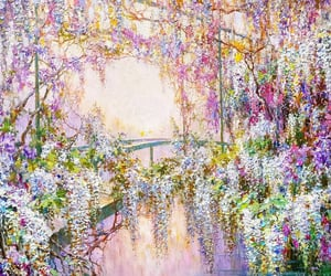 watercolor, wisteria at dawn., and romantic realism image