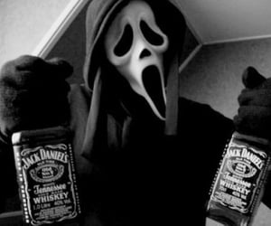 jack daniels, scream, and black and white image
