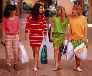 1980s, shopping mall, and girls image