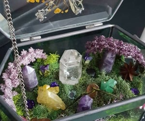 crystal, flowers, and witch image