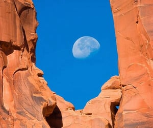 moon, red, and rock image