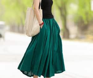 green skirt, linen skirt women, and womens dresses image