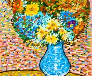 art, flores, and jarron image