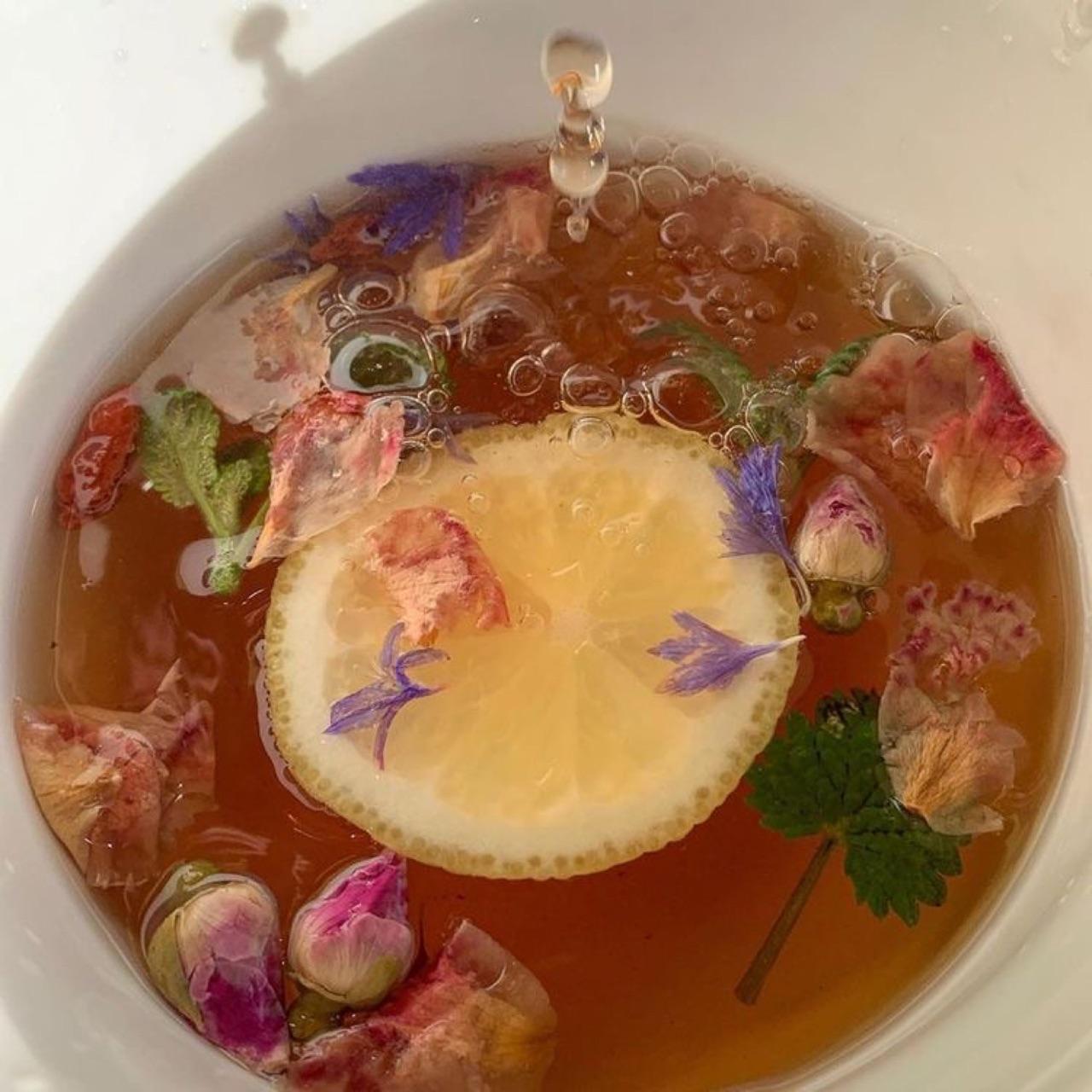 flowers, tea, and lemon image