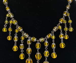 crystal necklace, antique jewelry, and yellow necklace image