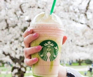 frappuccino, nails, and starbucks image