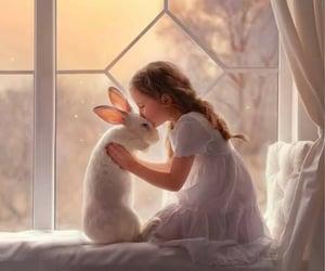 child, dreamy, and white rabbit image