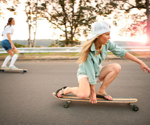girl, longboard, and photography image