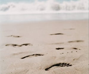 beach, foot, and footprint image