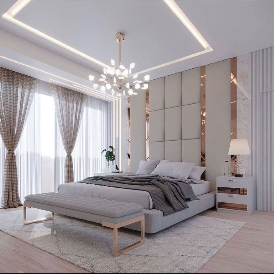 bed, bedroom, and curtains image
