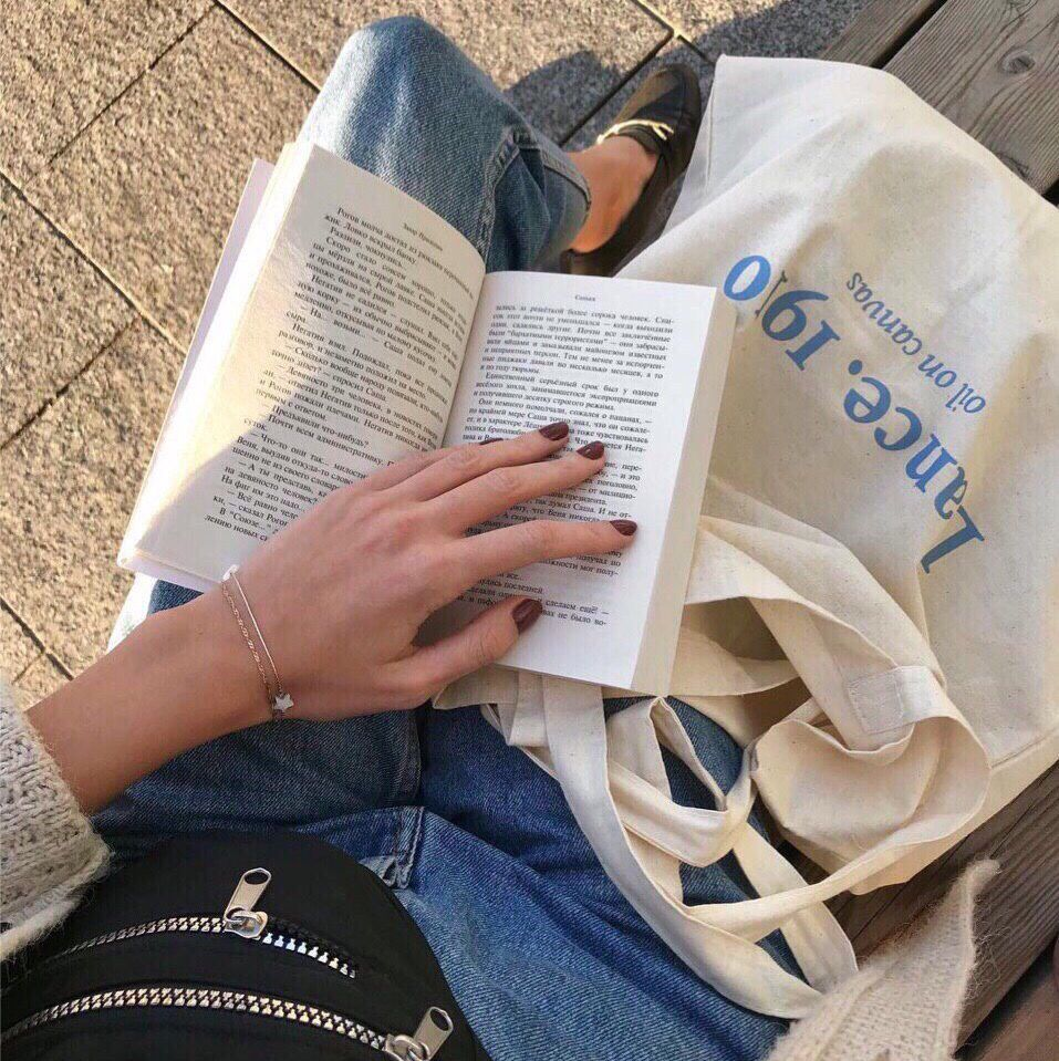 aesthetic, reading, and tote bag image