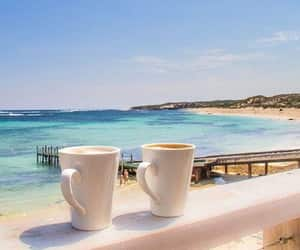 beach, coffee, and summer image