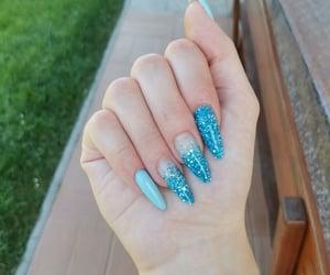 blue, long, and nails image