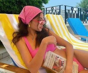 bandana, sun bathing, and bikini image