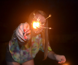 girl, fire, and firework image