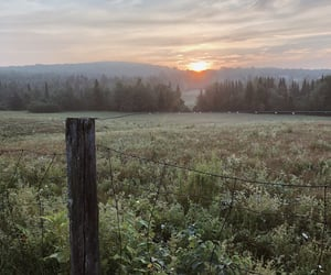 field, home, and sunrise image