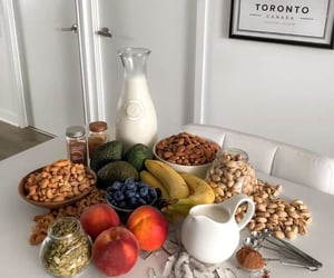 food, fruit, and milk image