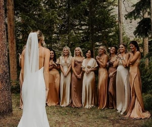 bride, dress, and bridemaids image