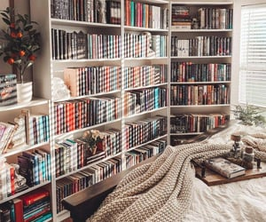 bedroom, books, and bibliophile image