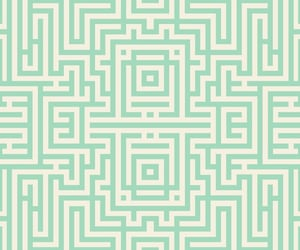 'Mint Green and Cream Abstract Aztec Maze Tile Pattern Design' by patternsoup