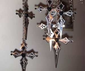 black, cross, and gothic image