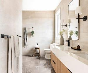 bathroom, beige, and black image