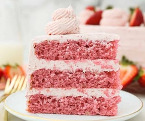 three-layer Strawberry Cake with Strawberry Frosting.