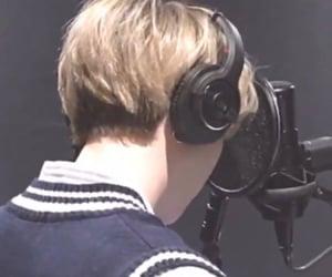 blonde hair, headphones, and agust d image