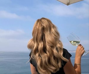 hair, blonde, and drink image