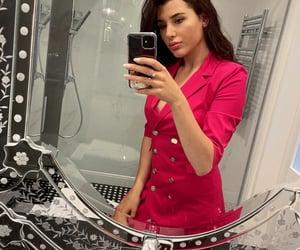 brunette, girl, and pink image