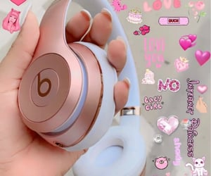 beats, bubble tea, and stickers image