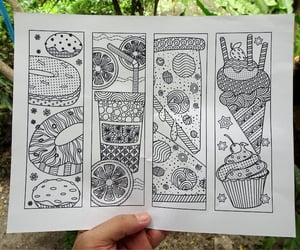 bookmarks, coloring, and donuts image