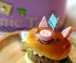 burger, food, and pig image