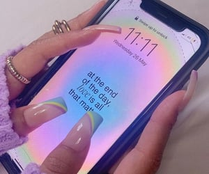 nails, quotes, and phone image