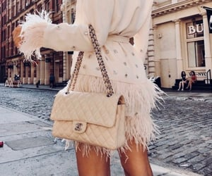 fashion, feathers, and look image