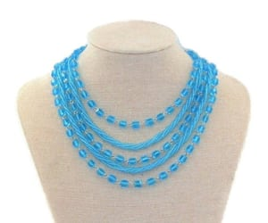 aqua blue, layered necklace, and glass bead necklace image
