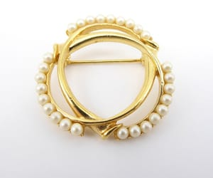 etsy, white beads, and trifari brooch image