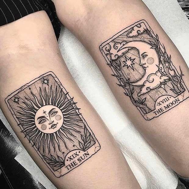 moon, sun, and tarot image