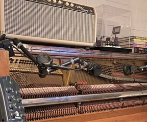 piano, microphone, and recording image