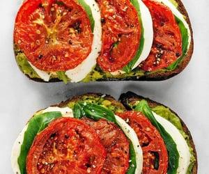 basil, roast tomato, and mozzarella cheese image
